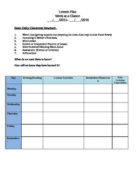 Lesson Planning Template: Week at a glance and daily plan detail