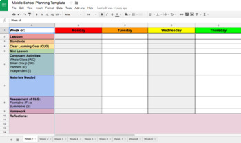 graphic relating to Teacher Plan Books referred to as Lesson Creating Template upon Google Sheets