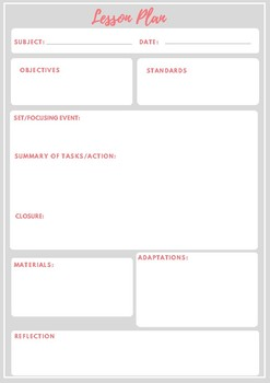 Lesson Planning Template with Reflection Space