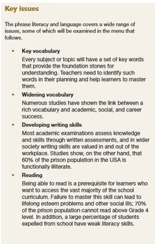 Lesson Planning: The Menu. Chapter D - Literacy and Language