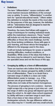 Lesson Planning: The Menu. Chapter F - Differentiation