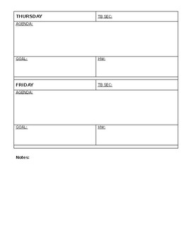 Lesson Planning - Week at a Glance