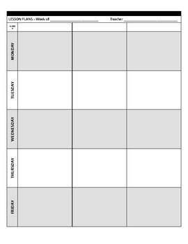 Lesson Planning - Weekly Organizer