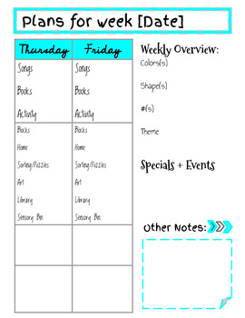 Lesson Planning for Littles- Template
