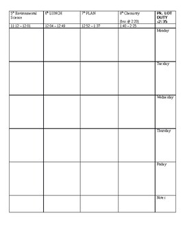 Lesson Planning  Daily template (editable)