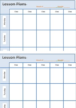 Lesson Planning (Weekly) Printable