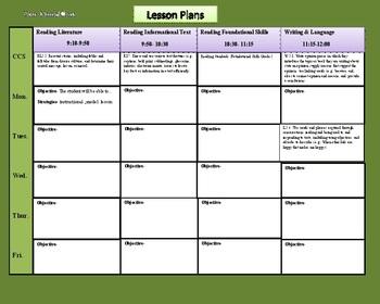 Lesson Plans Core Content Standards with Drop Down Menu for Grade 2