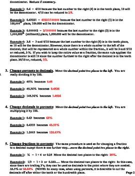 Lesson Plans Fractions Decimals  Percents Ordering