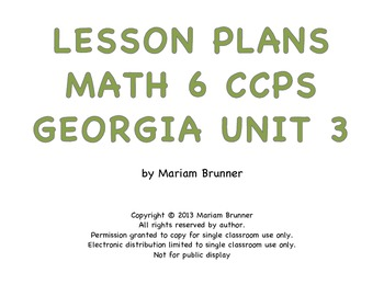 Lesson Plans Georgia Math 6th grade Common Core Expressions