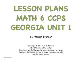 Lesson Plans Georgia Math 6th grade Common Core Number Sense