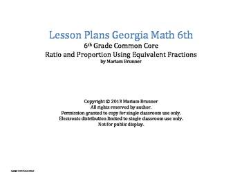 Lesson Plans Georgia Math 6th grade Common Core Ratio and Proportion