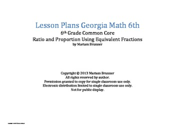 Lesson Plans Georgia Math 6th grade Common Core Ratio and