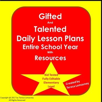 Lesson Plans Gifted & Talented Full School Year {Bundled} with Resources