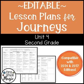 Lesson Plans Journeys Second Grade Unit 4 {EDITABLE!}