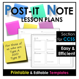 Lesson Plans POST-IT NOTE STYLE! - FREE Templates