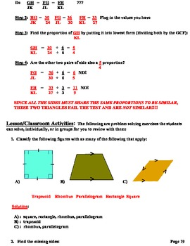 Lesson Plans  Polygon Classifications, Similarity & Congruency