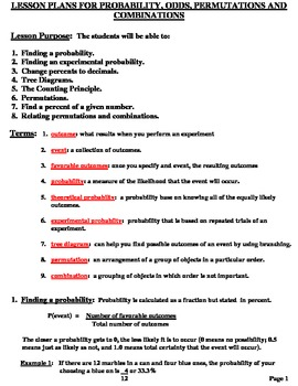 Lesson Plans:  Probability, Odds, Permutation, Combinations
