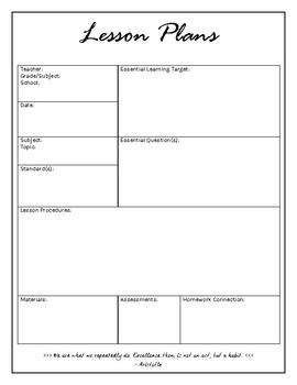 Lesson Plans Single Subject