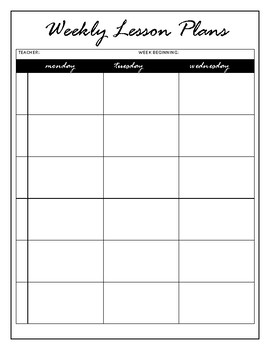 Lesson Plans Template Six Subjects