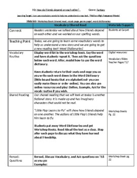 Lesson Plans- Wonders Reading 2nd Grade -Unit 1 Week 1