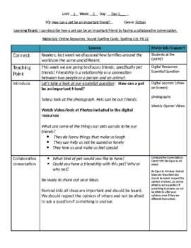 Lesson Plans- Wonders Reading 2nd Grade -Unit 1 Week 3