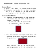 Lesson Plans Worksheet/Exam - Area and Perimeter for Rectangles