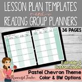 Editable Lesson Plans and Reading Groups Organization Pastel Chevron Theme