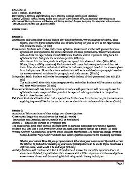 Lesson Plans for English II- Fiction Short Story Unit