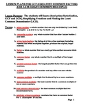 Lesson Plans for GCF, LCM, LCD, Fractions to lowest term