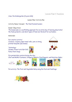 Lesson Plans for Nutrition PreK Preschool  4 year olds Eating Healthy