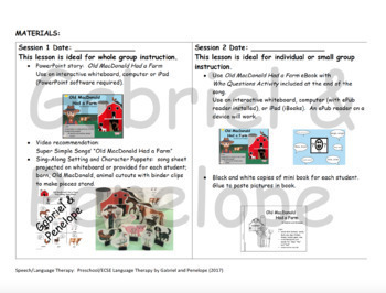 Lesson Plans for Old MacDonald Had a Farm