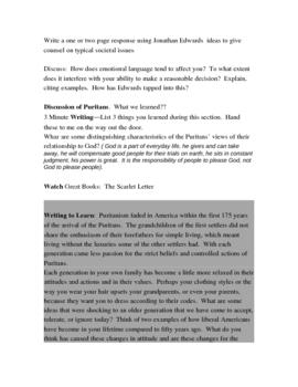 Lesson Plans for Puritan/Colonial/Age of Revolution Unit