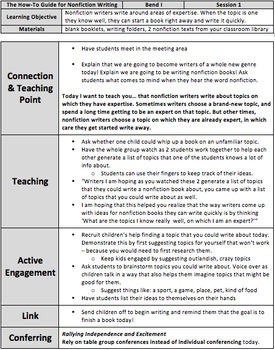 Lesson Plans for The How-To Guide for Nonfiction Writing - BEND 1