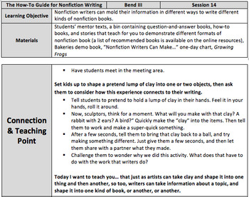 Lesson Plans for The How-To Guide for Nonfiction Writing - BEND 3