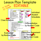 Lesson Plan Template EDITABLE for First Grade and Second Grade