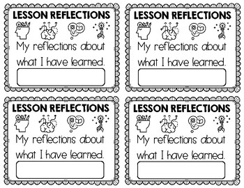 Lesson Reflection Question Cards