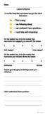 Lesson Reflection Sheet