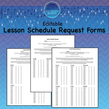 Lesson Schedule Request Forms