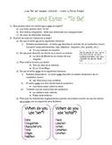 Lesson Ser and Estar + worksheets!