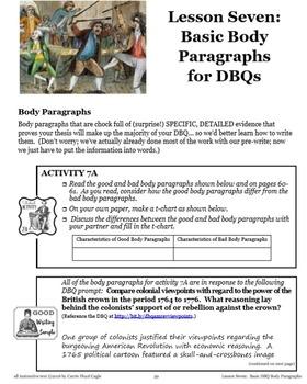 Lesson Seven--Basic DBQ Body Paragraphs from APUSH Writing & Skills HB