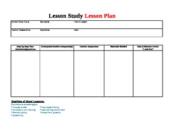 Lesson Study Lesson Plan Template