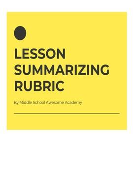 Lesson Summarizing Rubric