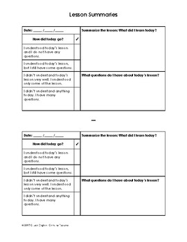 Lesson Summary Template for Student Binders