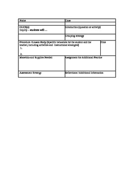 Lesson Template Form