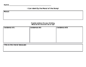 Lesson, Theme, or Moral of the Story Graphic Organizer