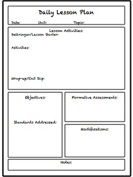 day plan template for teachers - lesson unit plan templates for middle or high school tpt