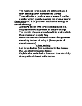 """Lesson V Student PowerPoint Note Guide """"Electromagnetism"""""""
