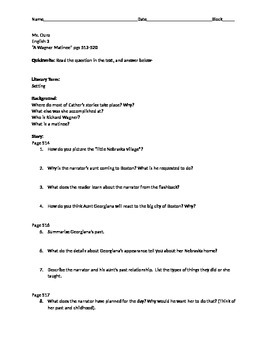 "Lesson Worksheet ""A Wagner Matinee"" by Willa Cather"