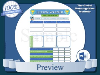 Lesson Wrappers (x10) [Metacognition, Metacognitive Strategy]
