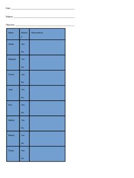 Lesson data tracker